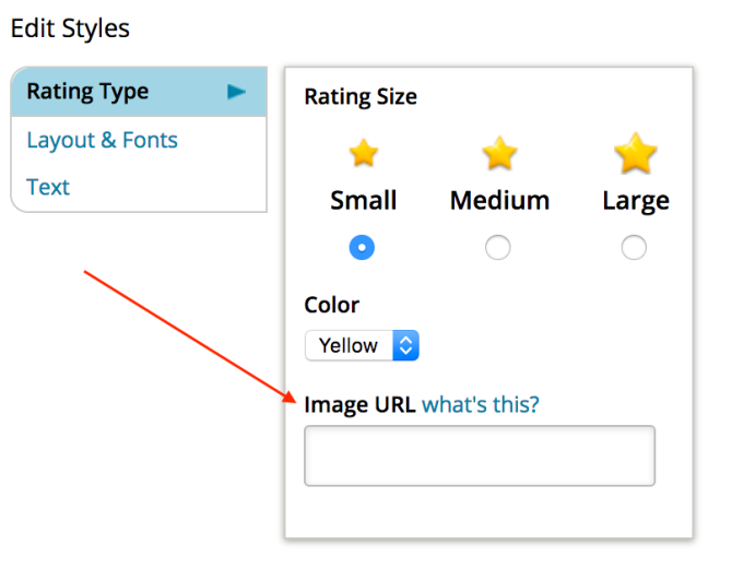 Images of how to add an image URL to a rating.