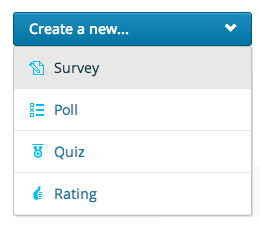 Create a New Survey dropdown menu
