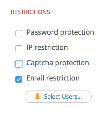 Image of email restrictions.