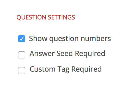 Image of question settings.