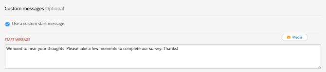 Image of adding a custom message to the start of a survey.