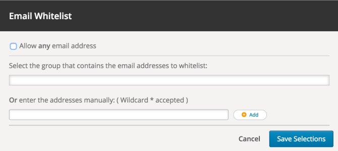 Image of email whitelisting screen.