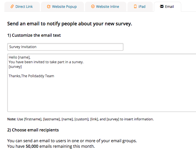 How do I send out my poll survey or quiz via email Polldaddy