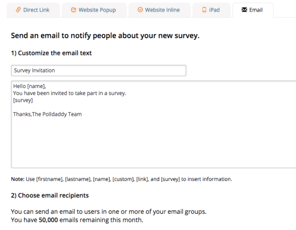 send email notify survey polldaddy