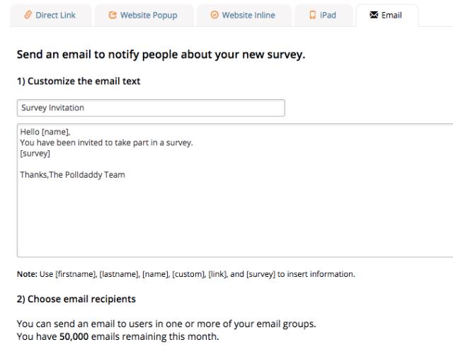 send email notify survey polldaddy