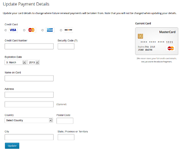 Updating your payment details | Polldaddy Support