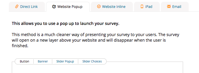 polldaddy survey embedding website pop up choices
