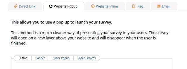 polldaddy survey embedding website pop up choices