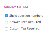 Show Question Numbers option under 'Question Settings' section