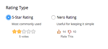 Rating type box with 5-star rating selected