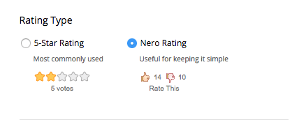 rating type box with Nero Rating selected